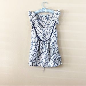 Anthropologie Lil Fissured Shell Nautical Silk Top